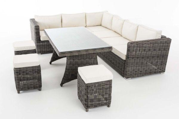 Sitzgruppe Sorano 5mm Cremeweiß, grau-meliert