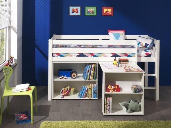 Spielbett Pino mit Schreibtisch und Regal, Bett Kiefer massiv, MDF weiß