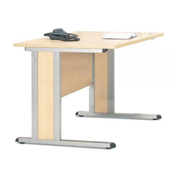 Schreibtisch Basic MULTI M 120x80x74 cm, Ahorn Alusilber