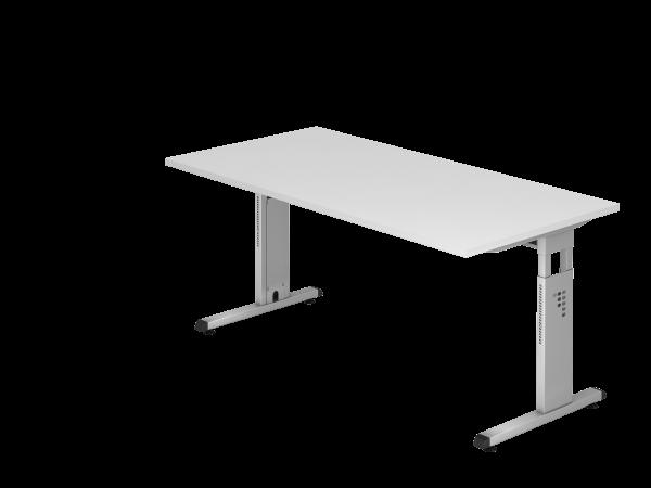 Schreibtisch C-Fuß 160x80cm Weiß Gestellfarbe: Silber