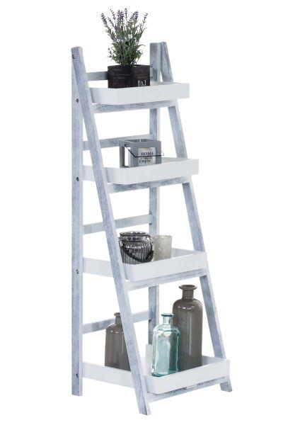 Treppenregal Dorin, weiß / grau