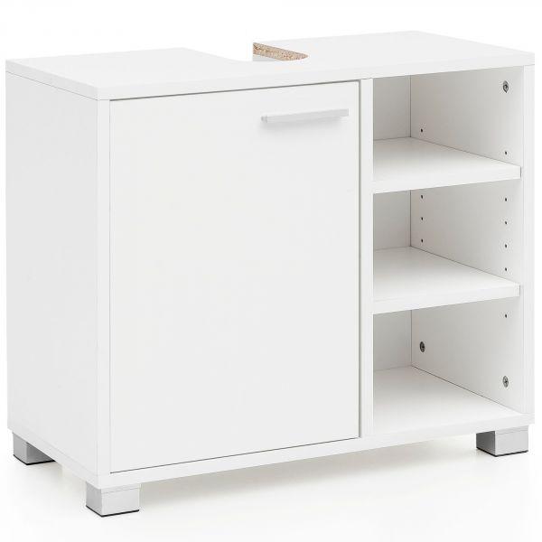 Waschbeckenunterschrank WL5.341 60x55x32cm Weiss Badschrank mit Tür