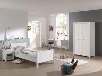Stella Set best. aus Bett, Schreibtisch, Kleiderschrank 2-trg. & Nachttisch, weiß