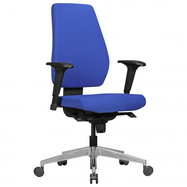 Bürostuhl DARIUS mit Stoff-Bezug Blau, Synchromechanik & Armlehnen