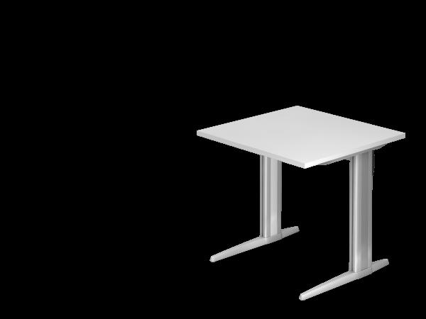 Schreibtisch XS08 C-Fuß 80x80cm Weiß Gestellfarbe: Silber