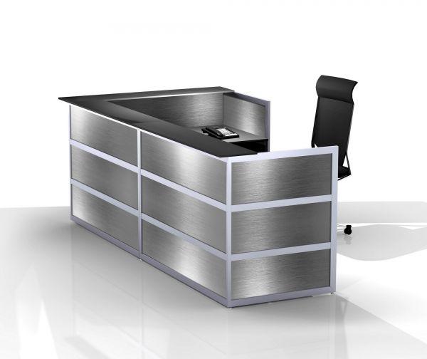 Komplett-Theke ECKIG / Edelstahl / Anthrazit / 297x110x150 cm | Küche und Esszimmer > Bar-Möbel > Tresen und Theken | BST-Design