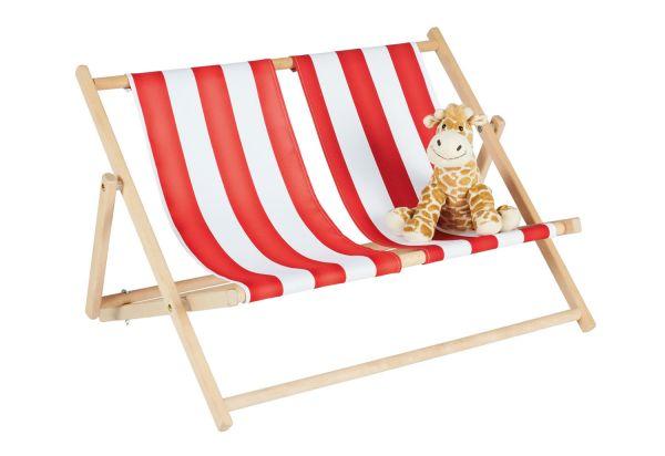 Liegestuhl 'Linus für 2', natur / rot / weiß