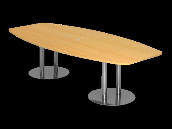 Konferenztisch KT28S 280x130cm Säulenfuß Buche Gestellfarbe: Chrom
