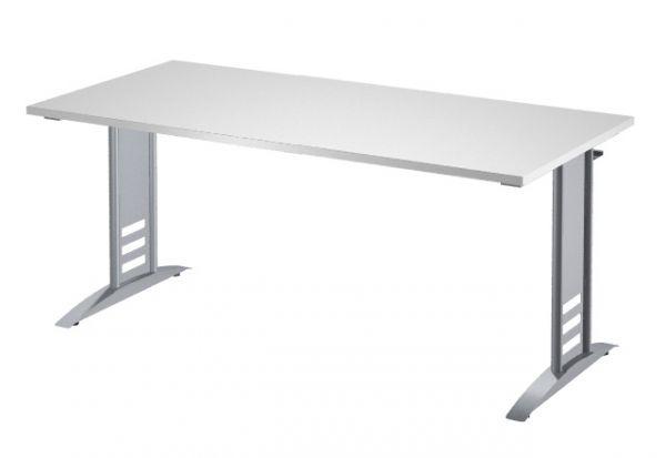 Schreibtisch Tec-Art, 160x80x68-82cm, C-Fuß Gestell, Lichtgrau