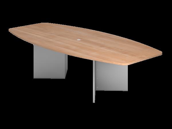 Konferenztisch KT28H 280x130cm Nussbaum Holzgestell: Silber