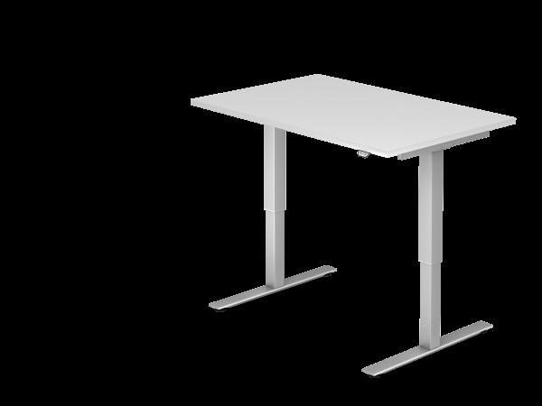 Sitz-Steh-Schreibtisch elektrisch XMST12 120x80cm Weiß Gestellfarbe: Silber