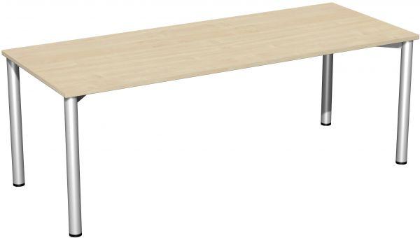 Konferenztisch Rundfuß, 200x80cm, Ahorn Silber   Büro > Bürotische > Konferenztische   Silber   Ahorn   Geramöbel