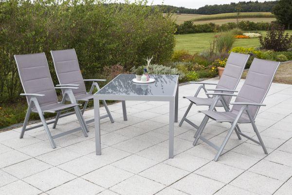 Taviano Set 5tlg. , Gestell: silber Textil: diamantbraun Tischplatte: graues Glas