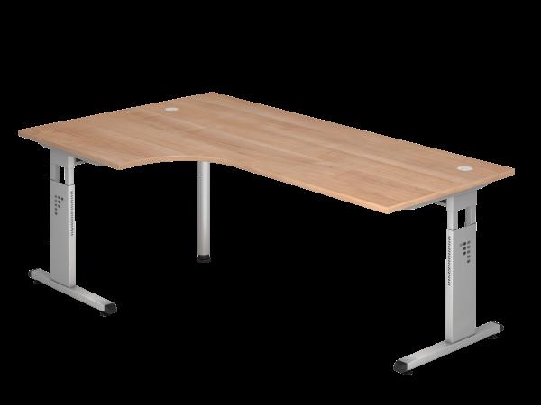 Winkeltisch OS82 C-Fuß 200x120cm 90° Nussbaum Gestellfarbe: Silber