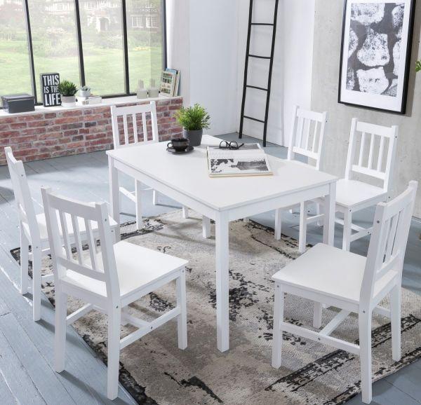Essgruppe EMIL 7 teilig Kiefer-Holz weiß Landhaus-Stil, 120 x 73 x 70 cm