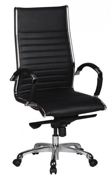 SALZBURG Bürostuhl, Schreibtischstuhl, Chefsessel, Echtleder Schwarz