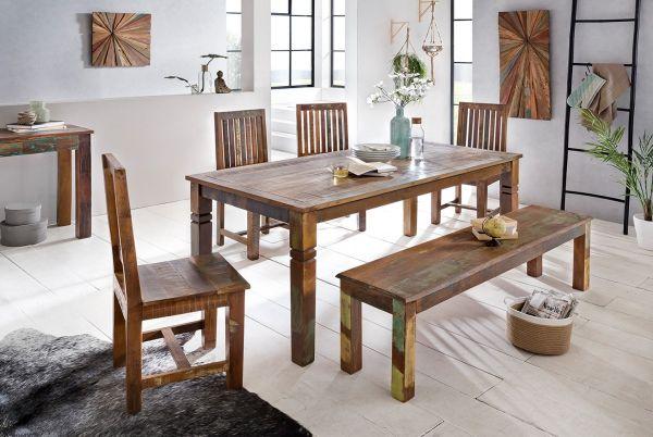 Esszimmertisch KALKUTTA 180 x 90 x 76 cm Mango Shabby Chic Massiv-Holz | Design Landhaus Esstisch Bo