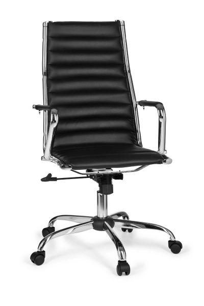 GENF Bürostuhl, Schreibtischstuhl, Chefsessel, höhenverstellbar, Kunstleder Schwarz