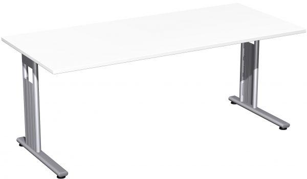 Schreibtisch, 180x80cm, Weiß / Silber