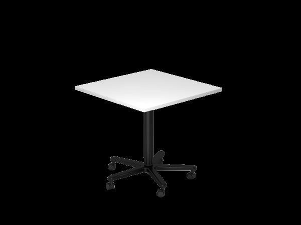 Säulenhubtisch, 80x80cm, Weiß / Schwarz