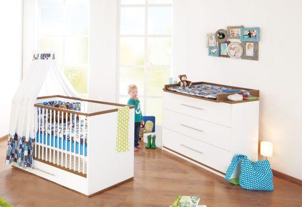 Kinderzimmer Sparset `Tuula` breit, Nussbaum / weiß | Kinderzimmer > Komplett-Kinderzimmer | Weiß | Nussbaum | Pinolino