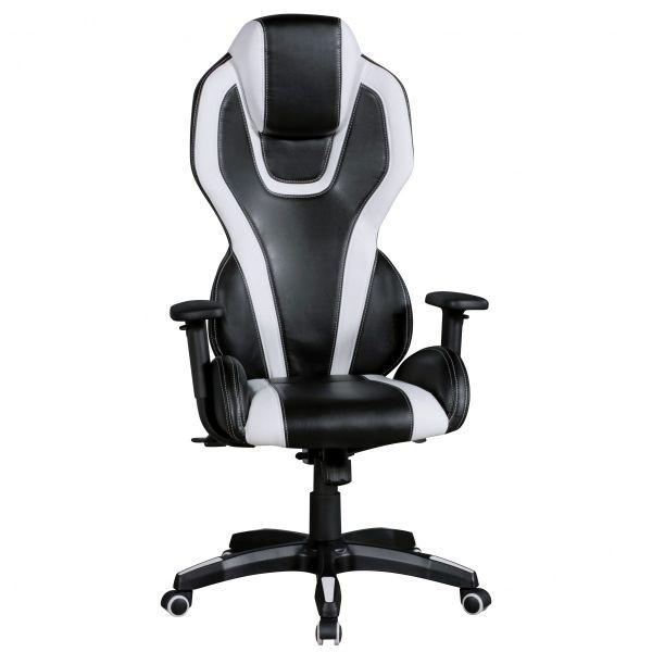 AVENTASPORT Bürostuhl Schreibtischstuhl Chefsessel, Kunstleder Schwarz Weiß