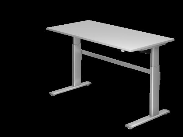 Sitz-Steh-Schreibtisch elektrisch 160x80cm Grau Gestellfarbe: Silber