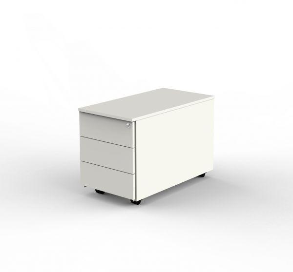 Rollcontainer, 43x80x54 cm, abschließbar, Weiß