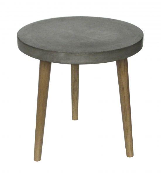 CEMENT Beistelltisch 50x50 cm, Beine Eiche, Platte Leichtbeton
