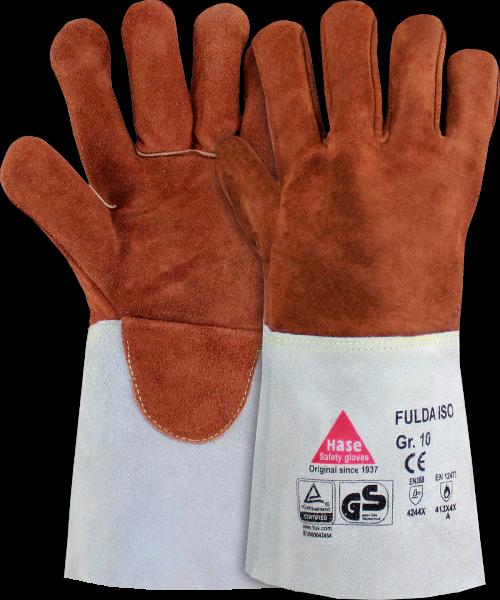 6 Paar - FULDA - ISO, Schweisserhandschuhe, Rindspaltleder, hitzebeständig
