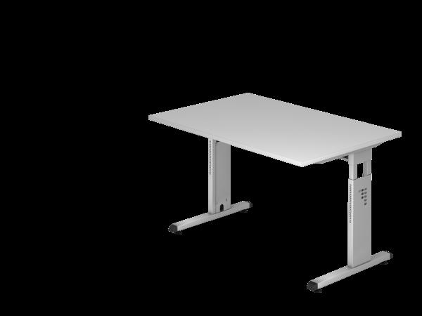 Schreibtisch OS12 C-Fuß 120x80cm Grau Gestellfarbe: Silber