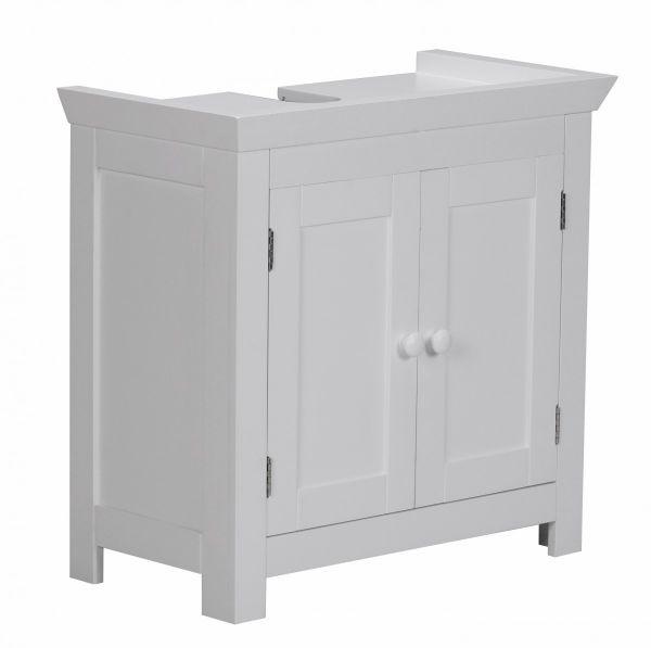 Bad-Waschbecken-Unterschrank mit 2 Türen, Weiß, 55,5 x 57 x 30 cm