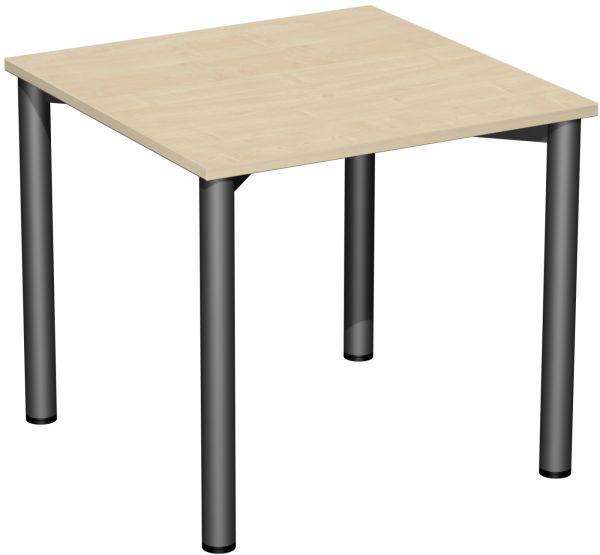 Konferenztisch 4 Fuß-Rundrohrgestell, feste Höhe, Ahorn Anthrazit
