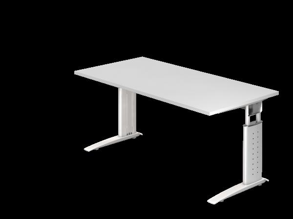 Schreibtisch US16 C-Fuß 160x80cm Weiß Gestellfarbe: Weiß