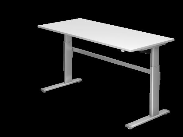 Sitz-Steh-Schreibtisch elektrisch XM19 180x80cm Weiß Gestellfarbe: Silber