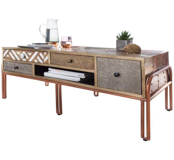 Wohnling Couchtisch Fitted 115x46x50cm Sofatisch Metall Holz
