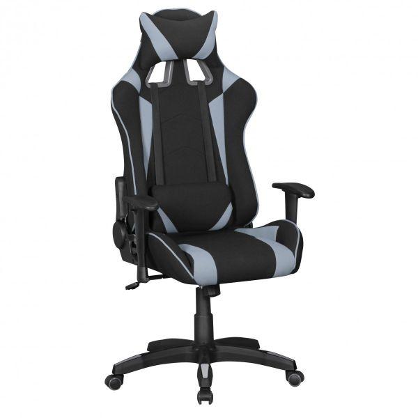 SCORE Bürostuhl Schreibtischstuhl Gaming, Stoffbezug Schwarz Grau