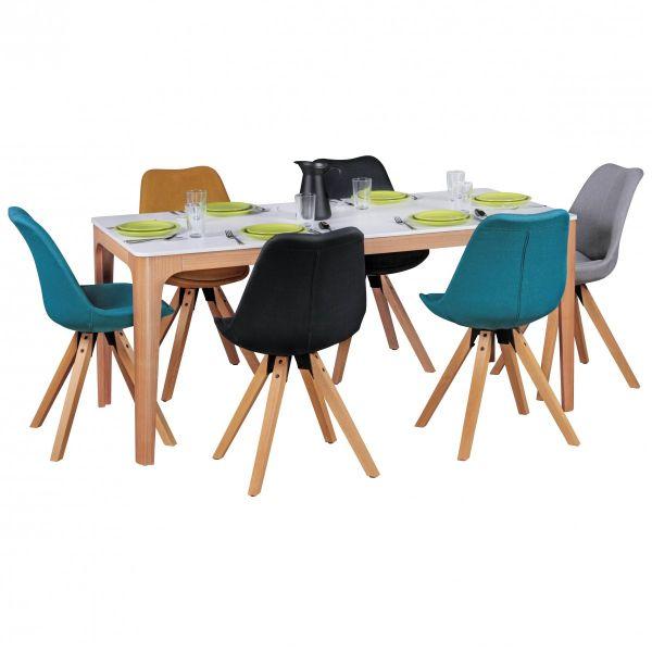 Esszimmertisch NORA 180 x 76 x 90 cm MDF Holz Esstisch mit Tischplatte in weiß
