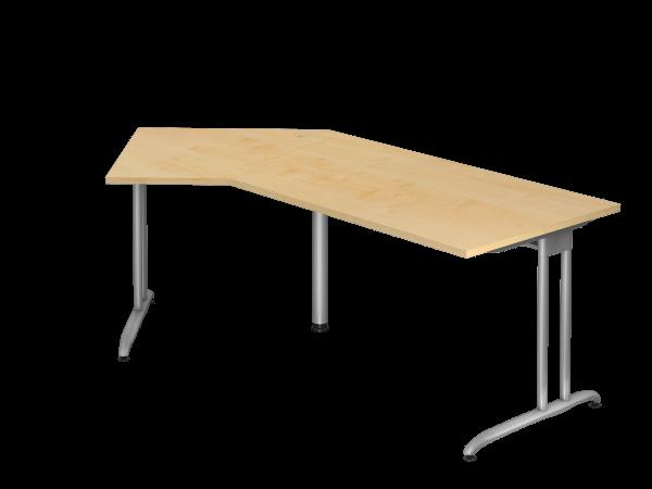 Winkeltisch C-Fuß 210x113cm 135° Ahorn Gestellfarbe: Silber