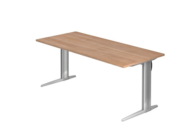 Schreibtisch XS19 C-Fuß 180x80cm Nussbaum Gestellfarbe: Silber