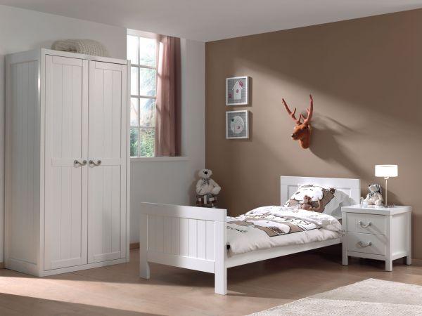 Set Lewis best. aus: Einzelbett, Nachtkonsole und Kleiderschrank 2-trg., Weiß