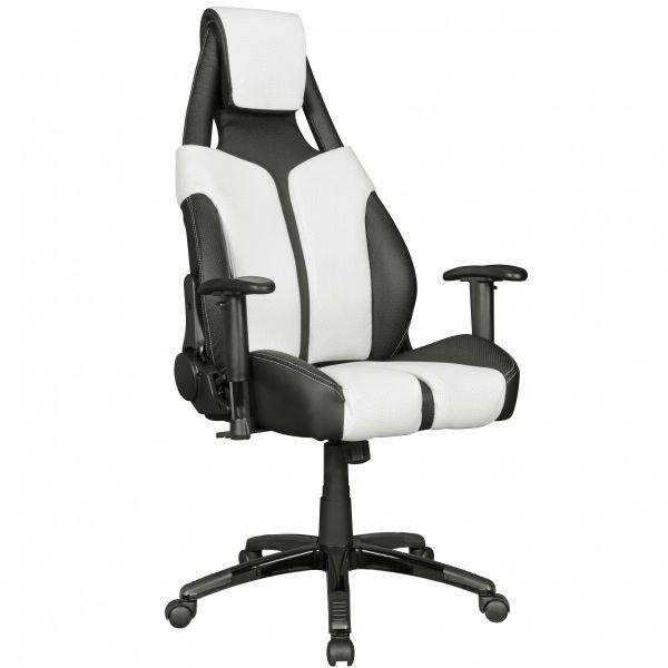 Bürostuhl LaSport Racing Chefsessel Rückenlehne 175° verstellbar Schwarz Weiß