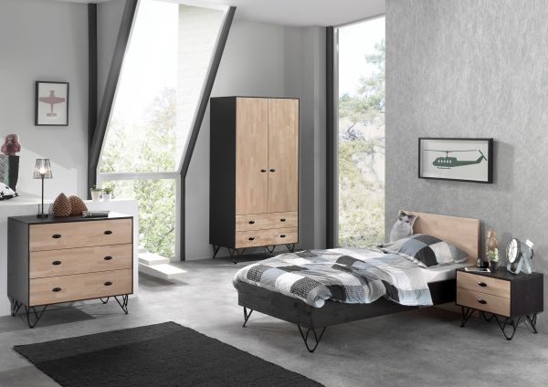 Set William best. aus: Einzelbett, Nachtschrank, Kleiderschrank, Kommode, Kiefer massiv