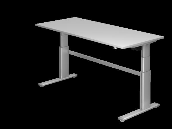 Sitz-Steh-Schreibtisch elektrisch XD19 180x80cm Grau Gestellfarbe: Silber