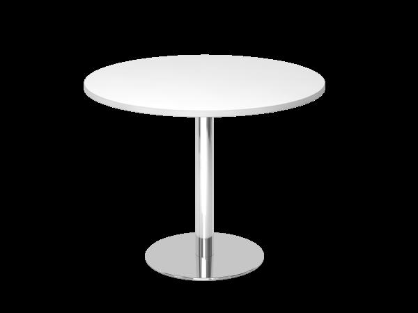 Runder Besprechungstisch STF10 100cm Weiß Gestell:Chrom