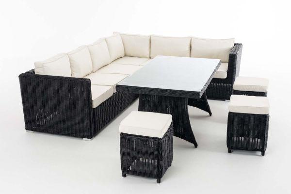 Sitzgruppe Siena 5mm Cremeweiß, schwarz