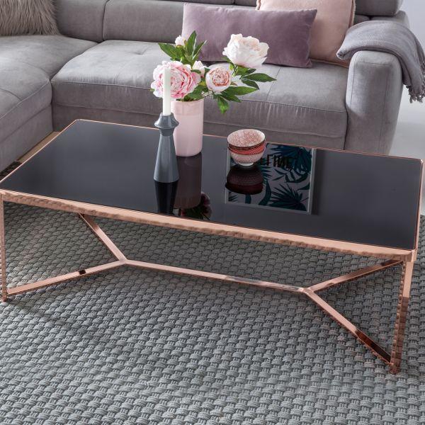 Design Couchtisch, 120x60x40cm, Glasplatte Schwarz / Gestell Kupfer
