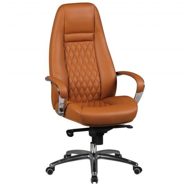 AUSTIN Schreibtischstuhl Chefsessel hohe Rückenlehne, Echtleder Caramel