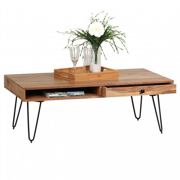 Couchtisch, Wohnzimmer-Tisch, 120 cm breit, Massiv-Holz, Akazie