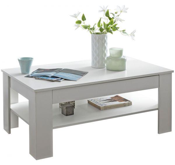 Design Couchtisch CONNIE 110x48x65 cm mit Stauraum & Ablage Holz weiß